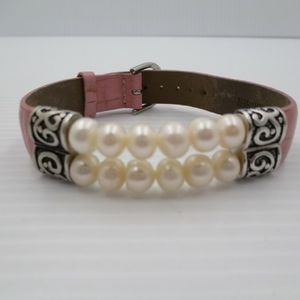 Jewelry - 925 Real Pearl n Leather Bracelet